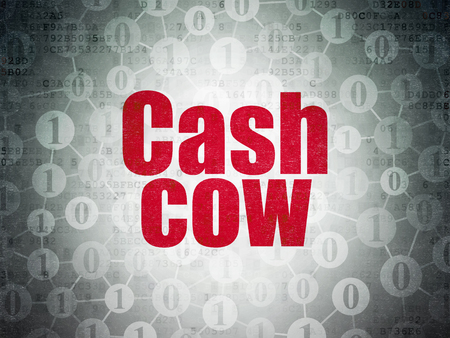 cash cow: Finance concept: Painted red text Cash Cow on Digital Paper background with  Scheme Of Binary Code