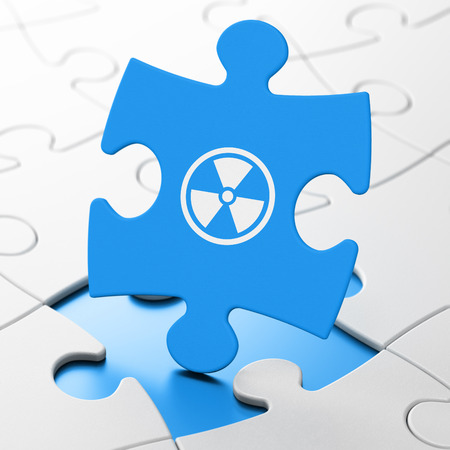 caution chemistry: Science concept: Radiation on Blue puzzle pieces background, 3d render Stock Photo