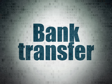 bank transfer: Money concept: Painted blue word Bank Transfer on Digital Paper background Stock Photo