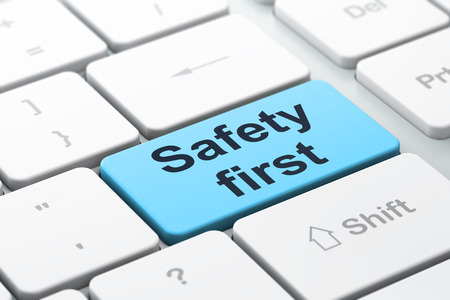safety first: Protection concept: computer keyboard with word Safety First, selected focus on enter button background, 3d render