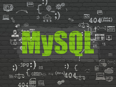 mysql: Software concept: Painted green text MySQL on Black Brick wall background with Scheme Of Hand Drawn Programming Icons Stock Photo