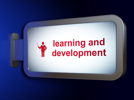 people development: Learning concept: Learning And Development and Teacher on advertising billboard background, 3d render