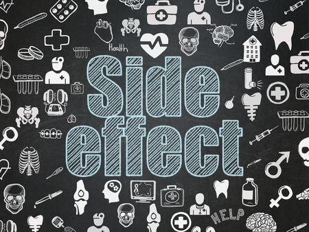 side effect: Health concept: Chalk Blue text Side Effect on School Board background with  Hand Drawn Medicine Icons Stock Photo