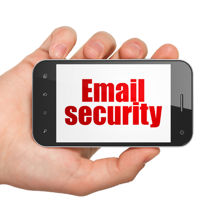 email security: Protection concept: Hand Holding Smartphone with  red text Email Security on display,  Hexadecimal Code background