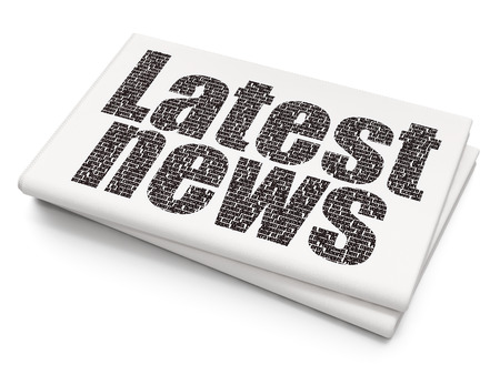 urgent announcement: News concept: Pixelated black text Latest News on Blank Newspaper background