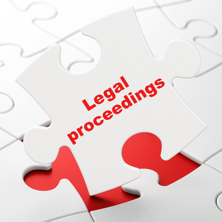 proceedings: Law concept: Legal Proceedings on White puzzle pieces background, 3d render