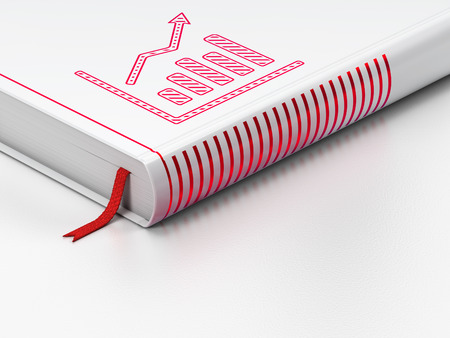 closed ribbon: News concept: closed book with Red Growth Graph icon on floor, white background, 3d render