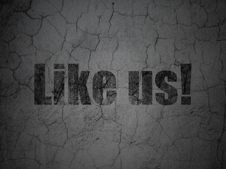 microblog: Social network concept: Black Like us! on grunge textured concrete wall background Stock Photo