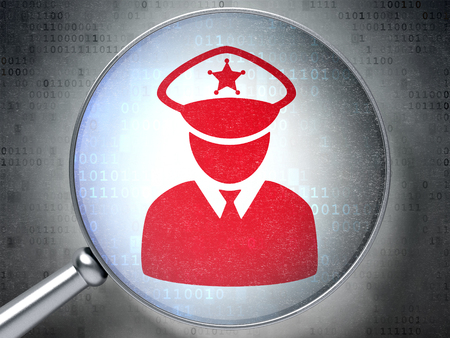data protection act: Protection concept: magnifying optical glass with Police icon on digital background Stock Photo