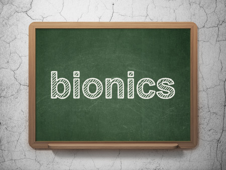 bionics: Science concept: text Bionics on Green chalkboard on grunge wall background