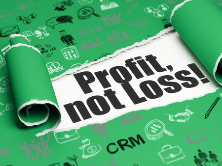 brand damage: Business concept: black text Profit, Not Loss! under the curled piece of Green torn paper with  Hand Drawn Business Icons