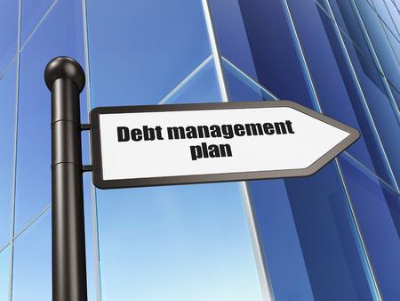 debt management: Finance concept: sign Debt Management Plan on Building background, 3d render