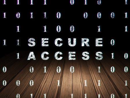 room access: Protection concept: Glowing text Secure Access in grunge dark room with Wooden Floor, black background with Binary Code