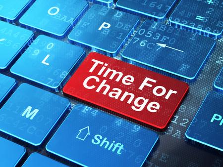 teclado de computadora: Concepto del tiempo: Teclado de ordenador con la palabra hora para el cambio en el bot�n de entrar en el fondo, 3d Foto de archivo