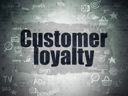 Marketing concept: Painted black text Customer Loyalty on Digital Paper background with Scheme Of Hand Drawn Marketing Icons