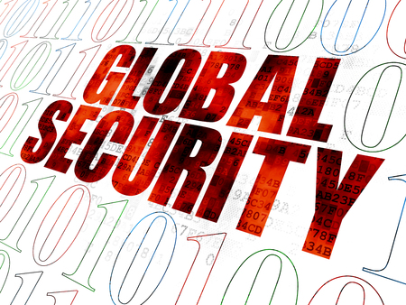 global security: Security concept: Pixelated red text Global Security on Digital wall background with Binary Code Stock Photo