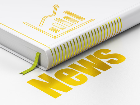 closed ribbon: News concept: closed book with Gold Growth Graph icon and text News on floor, white background, 3d render
