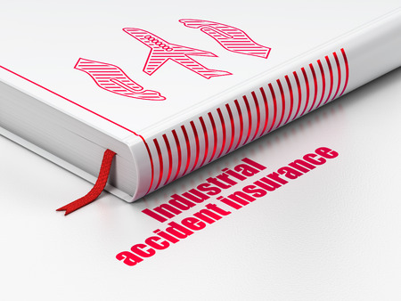 industrial accident: Insurance concept: closed book with Red Airplane And Palm icon and text Industrial Accident Insurance on floor, white background, 3d render Stock Photo