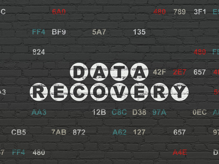 data recovery: Data concept: Painted white text Data Recovery on Black Brick wall background with Hexadecimal Code