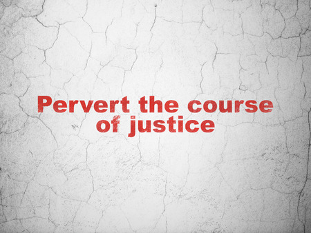 cement court: Law concept: Red Pervert the course Of Justice on textured concrete wall background