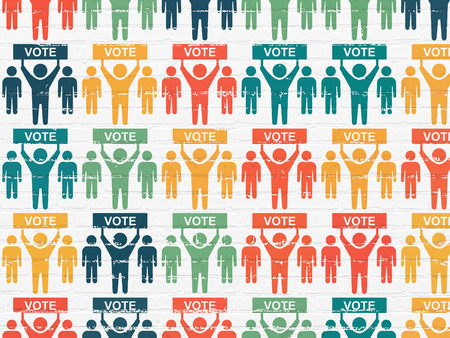 dictatorship: Political concept: Painted multicolor Election Campaign icons on White Brick wall background Stock Photo