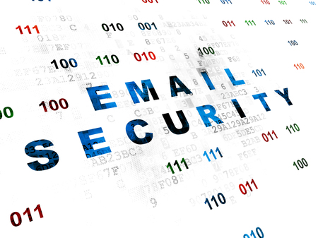 passkey: Privacy concept: Pixelated blue text Email Security on Digital wall background with Binary Code Stock Photo
