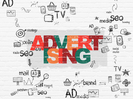 advertising text: Advertising concept: Painted multicolor text Advertising on White Brick wall background with Scheme Of Hand Drawn Marketing Icons