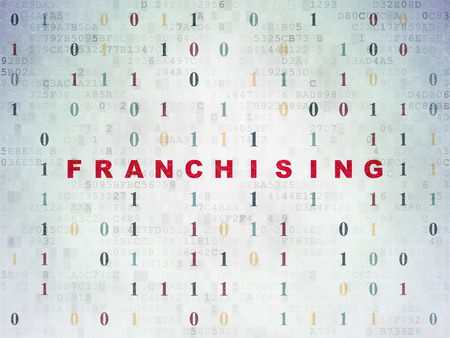 franchising: Finance concept: Painted red text Franchising on Digital Paper background with Binary Code Stock Photo