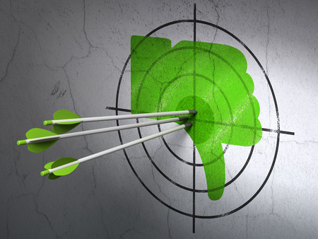 media center: Success social media concept: arrows hitting the center of Green Thumb Down target on wall background Stock Photo