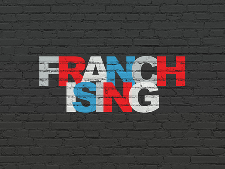 franchising: Business concept: Painted multicolor text Franchising on Black Brick wall background
