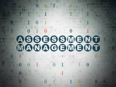 assessment system: Finance concept: Painted blue text Assessment Management on Digital Paper background with Binary Code