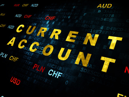 current account: Currency concept: Pixelated yellow text Current Account on Digital wall background with Currency