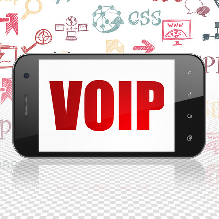voip: Web design concept: Smartphone with  red text VOIP on display,  Hand Drawn Site Development Icons background