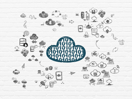server technology: Cloud networking concept: Painted blue Cloud With Code icon on White Brick wall background with Scheme Of Hand Drawn Cloud Technology Icons Stock Photo