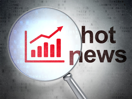 hot news: News concept: magnifying optical glass with Growth Graph icon and Hot News word on digital background