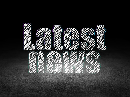 news room: News concept: Glowing text Latest News in grunge dark room with Dirty Floor, black background