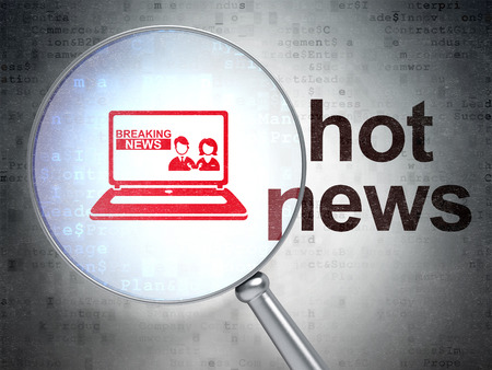 breaking the code: News concept: magnifying optical glass with Breaking News On Laptop icon and Hot News word on digital background Stock Photo