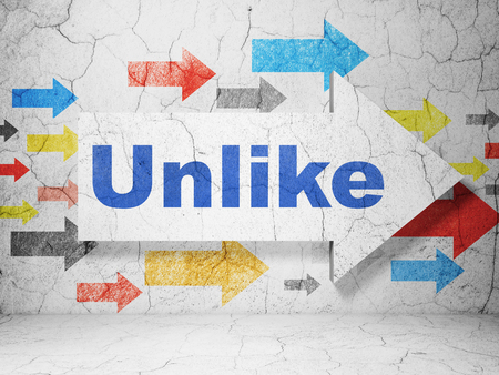 unlike: Social network concept:  arrow with Unlike on grunge textured concrete wall background Stock Photo
