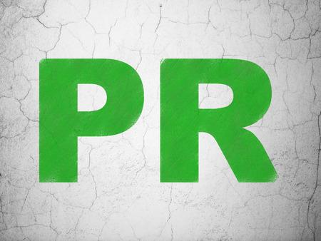 pr: Marketing concept: Green PR on textured concrete wall background