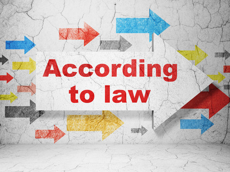 according: Law concept:  arrow with According To Law on grunge textured concrete wall background Stock Photo