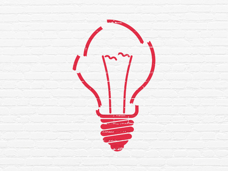 broken strategy: Finance concept: Painted red Light Bulb icon on White Brick wall background