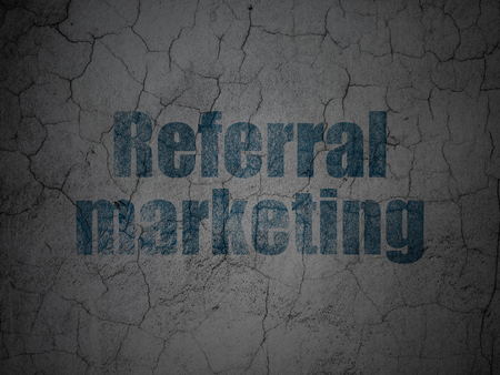 referral marketing: Advertising concept: Blue Referral Marketing on grunge textured concrete wall background