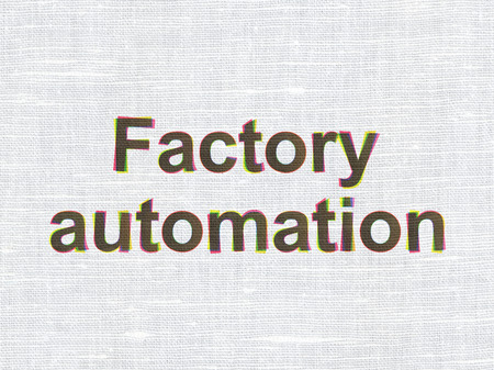 factory automation: Industry concept: CMYK Factory Automation on linen fabric texture background