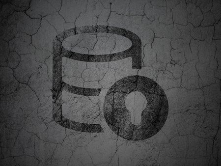Database concept: Black Database With Lock on grunge textured concrete wall background