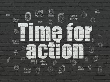 cronologia: Time concept: Painted white text Time for Action on Black Brick wall background with  Hand Drawing Time Icons Foto de archivo