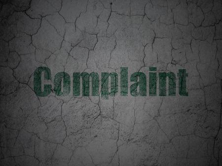 concrete court: Law concept: Green Complaint on grunge textured concrete wall background