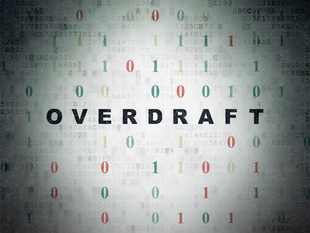 overdraft: Finance concept: Painted black text Overdraft on Digital Paper background with Binary Code