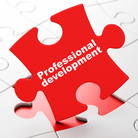 business words: Studying concept: Professional Development on Red puzzle pieces background, 3d render