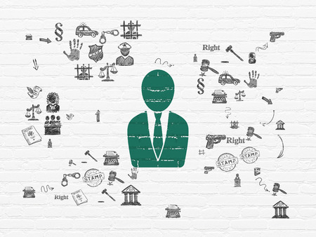 court process: Law concept: Painted green Business Man icon on White Brick wall background with Scheme Of Hand Drawn Law Icons