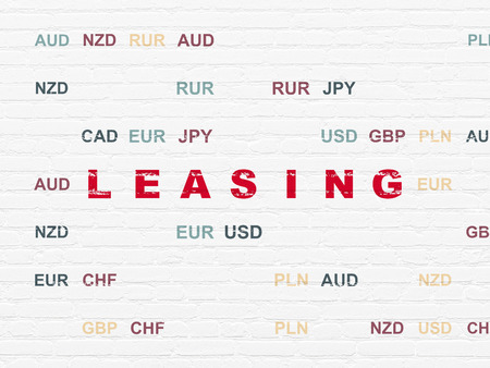 leasing: Business concept: Painted red text Leasing on White Brick wall background with Currency Stock Photo